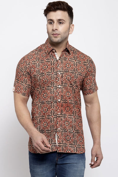 WINTAGE Men's Jaipur Cotton Tropical Hawaiian Batik Casual Shirt: Red