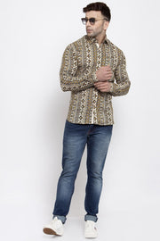 WINTAGE Men's Jaipur Cotton Tropical Hawaiian Batik Casual Shirt: Camel
