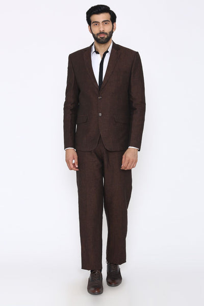 100% Linen Brown Suit