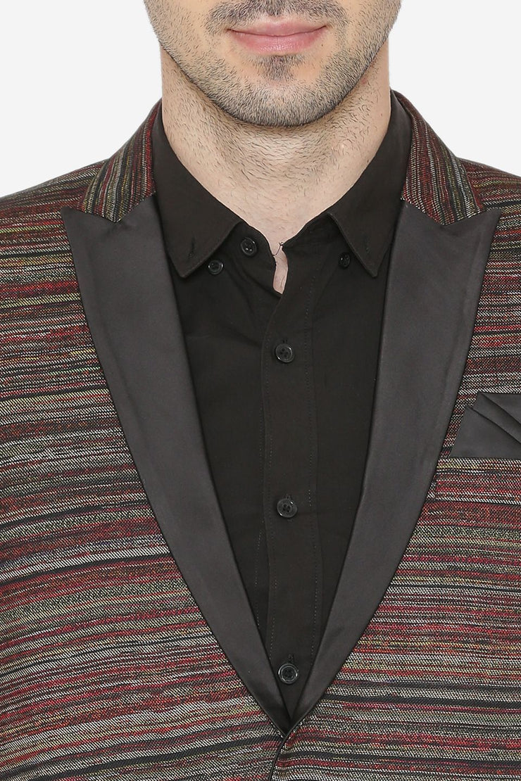 Polyester Cotton Fabric Brown Blazer
