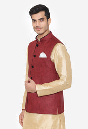 Rayon Red Nehru Modi Jacket