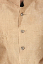 Pure Muga Silk Gold Modi Nehru Jacket
