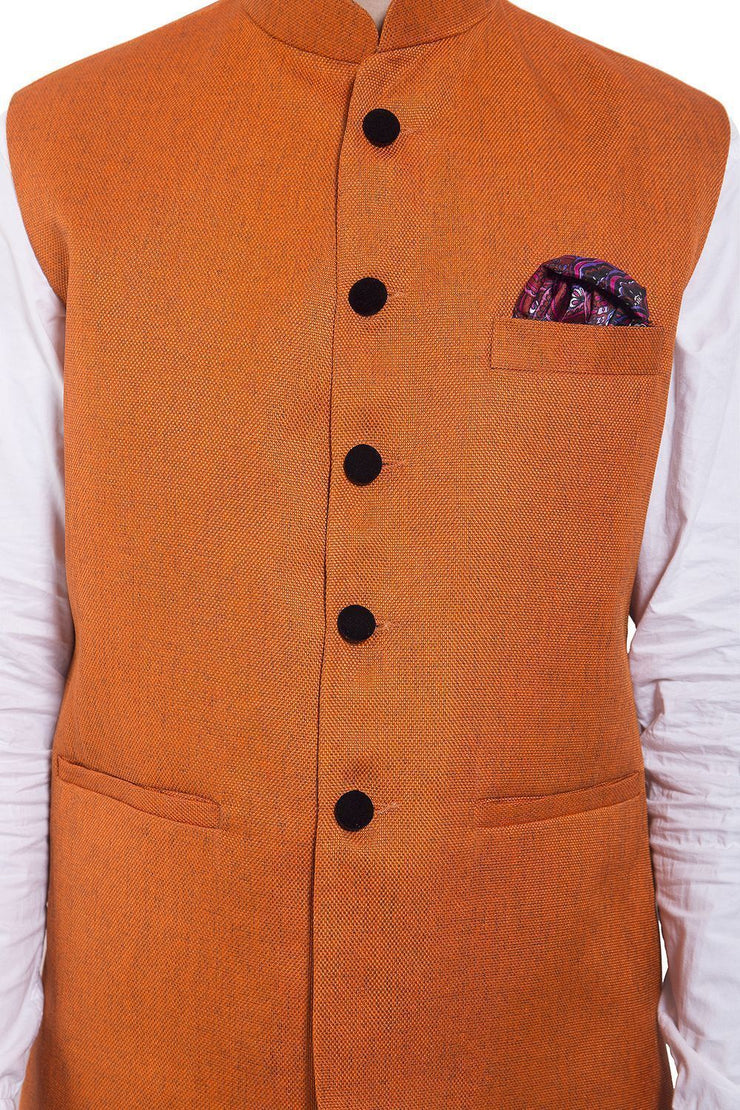 Rayon Orange Nehru Jacket
