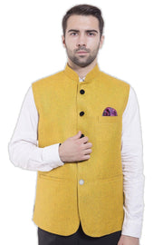 Rayon Yellow Nehru Jacket