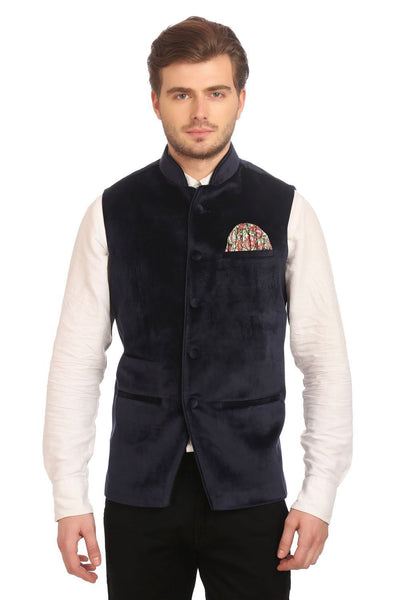 Dust Free Cotton Velvet Blue Nehru Jacket