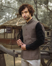 Tweed Wool Blend Brown Modi Nehru Jacket