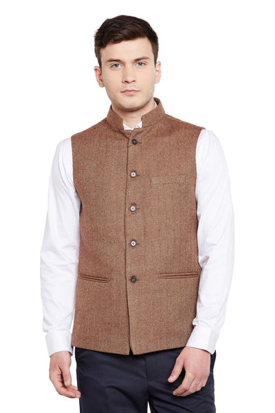 Tweed Wool Blend Brown Nehru Jacket