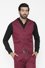 Polyester Cotton Purple Waist Coat