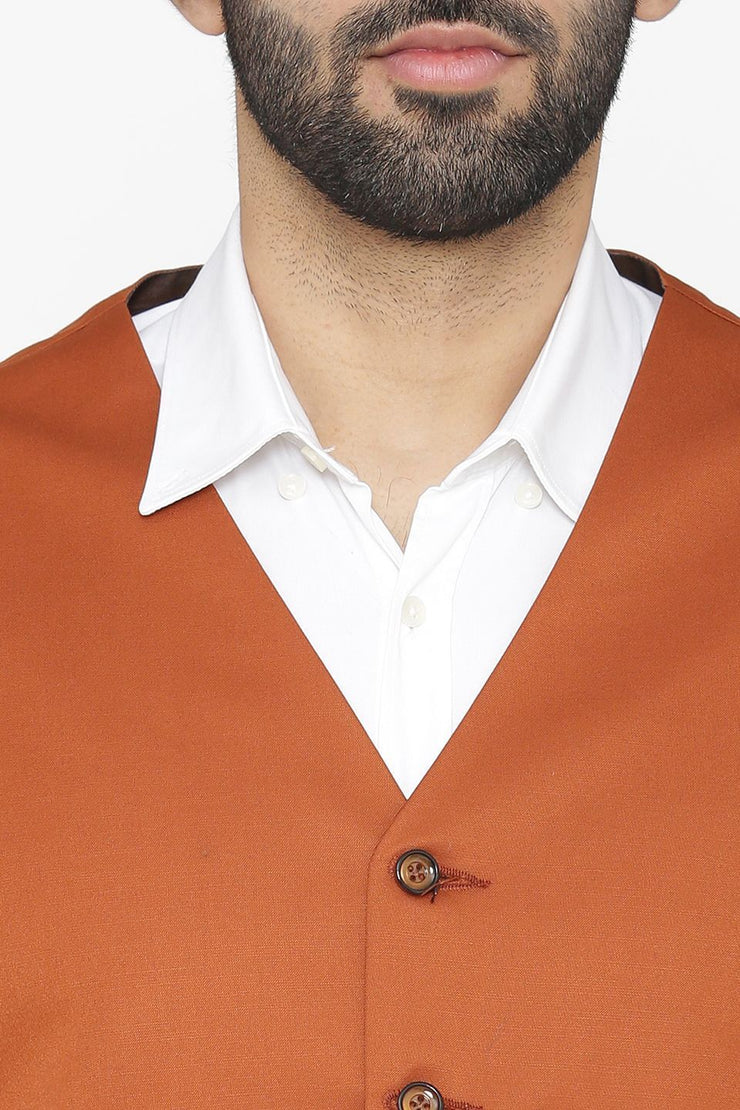 Polyester Cotton Orange Waist Coat