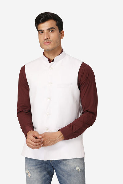 WINTAGE Men's Poly Cotton Festive and Casual Nehru Jacket Vest Waistcoat : White