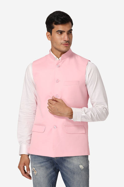 WINTAGE Men's Poly Cotton Festive and Casual Nehru Jacket Vest Waistcoat : Light Pink