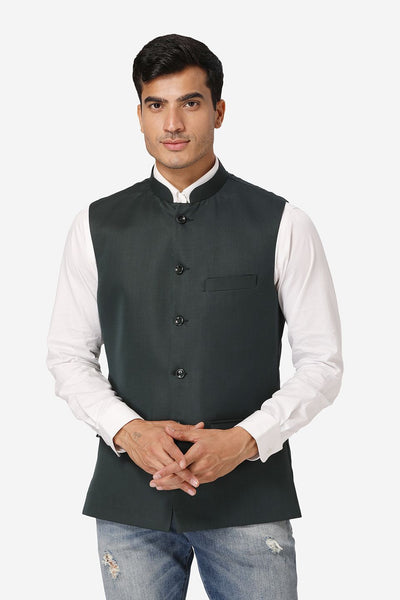 WINTAGE Men's Poly Cotton Festive and Casual Nehru Jacket Vest Waistcoat : Dark Green