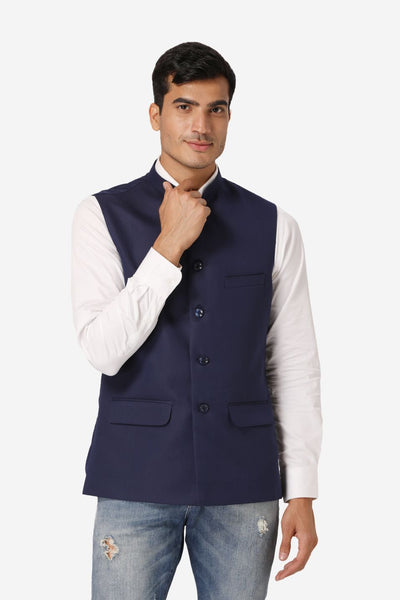 WINTAGE Men's Poly Cotton Festive and Casual Nehru Jacket Vest Waistcoat : Navy Blue