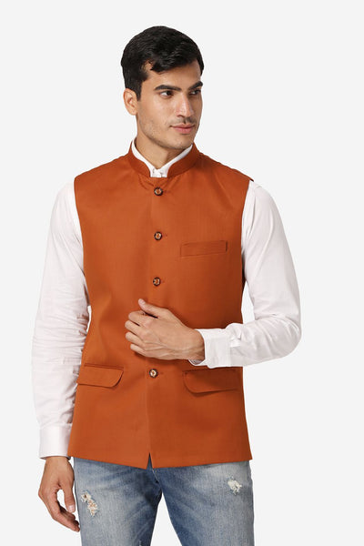 WINTAGE Men's Poly Cotton Festive and Casual Nehru Jacket Vest Waistcoat : Orange