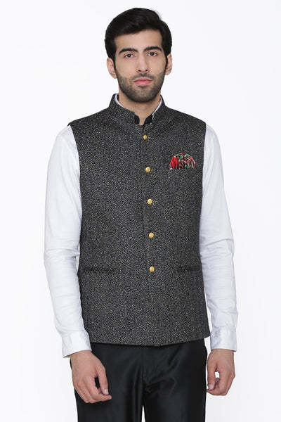Tweed Wool Black Modi Nehru Jacket