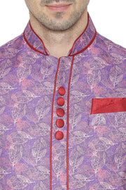 Rayon Fabric Purple Nehru Jacket