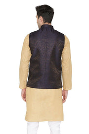 Banarasi Rayon Cotton Black Nehru Jacket