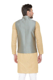 Banarasi Rayon Cotton Blue Nehru Jacket