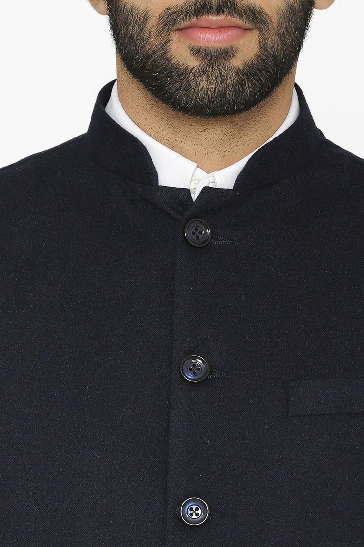 Tweed Wool Blue Modi Nehru Jacket