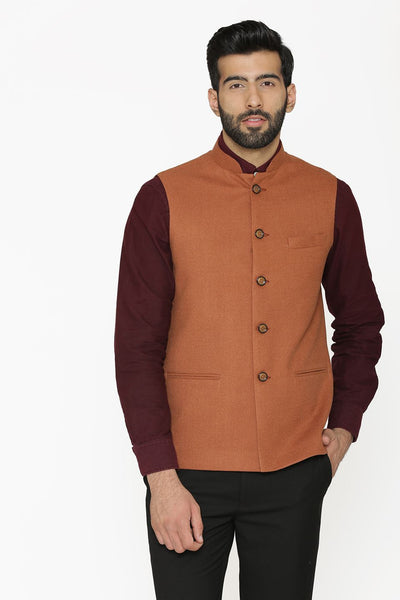 Tweed Wool Orange Nehru Jacket