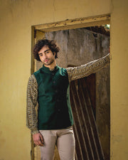 Tweed Wool Green Modi Nehru Jacket