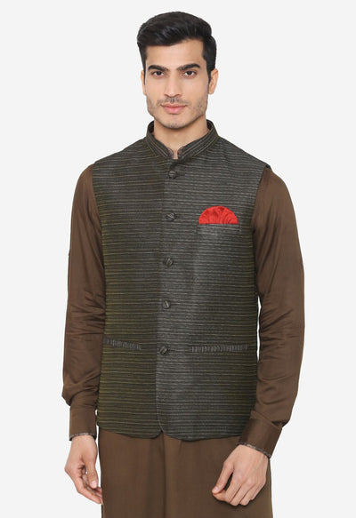 Banarsi Rayon Cotton Dark Green Nehru Modi Jacket