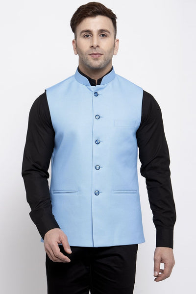 WINTAGE Men's Poly Cotton Festive and Casual Nehru Jacket Vest Waistcoat : Blue