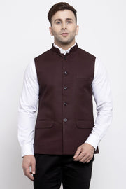 WINTAGE Men's Poly Cotton Festive and Casual Nehru Jacket Vest Waistcoat : Dark Brown