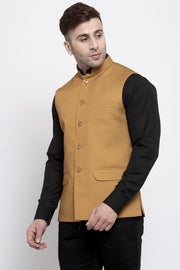 WINTAGE Men's Poly Cotton Festive and Casual Nehru Jacket Vest Waistcoat : Brown