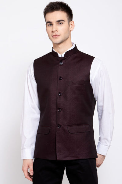 Wintage Men's Poly Blend Formal and Evening Nehru Jacket Vest Waistcoat : Brown