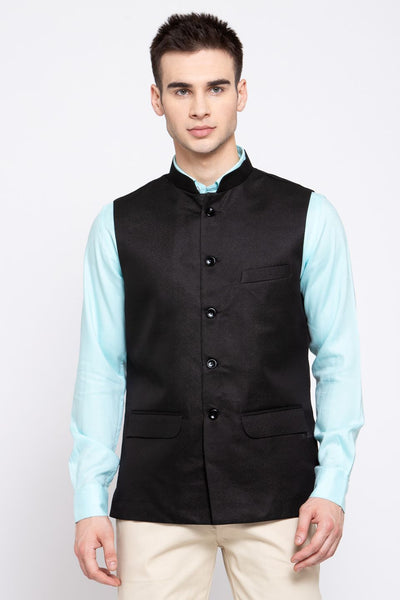 Wintage Men's Poly Blend Formal and Evening Nehru Jacket Vest Waistcoat : Black