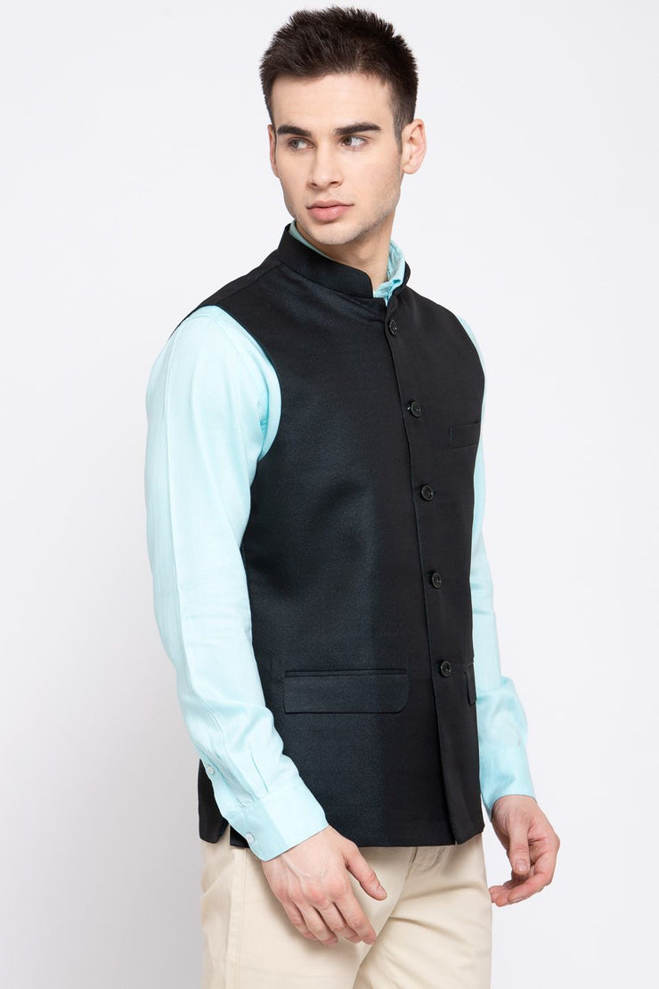 Wintage Men's Poly Blend Formal and Evening Nehru Jacket Vest Waistcoat : Green