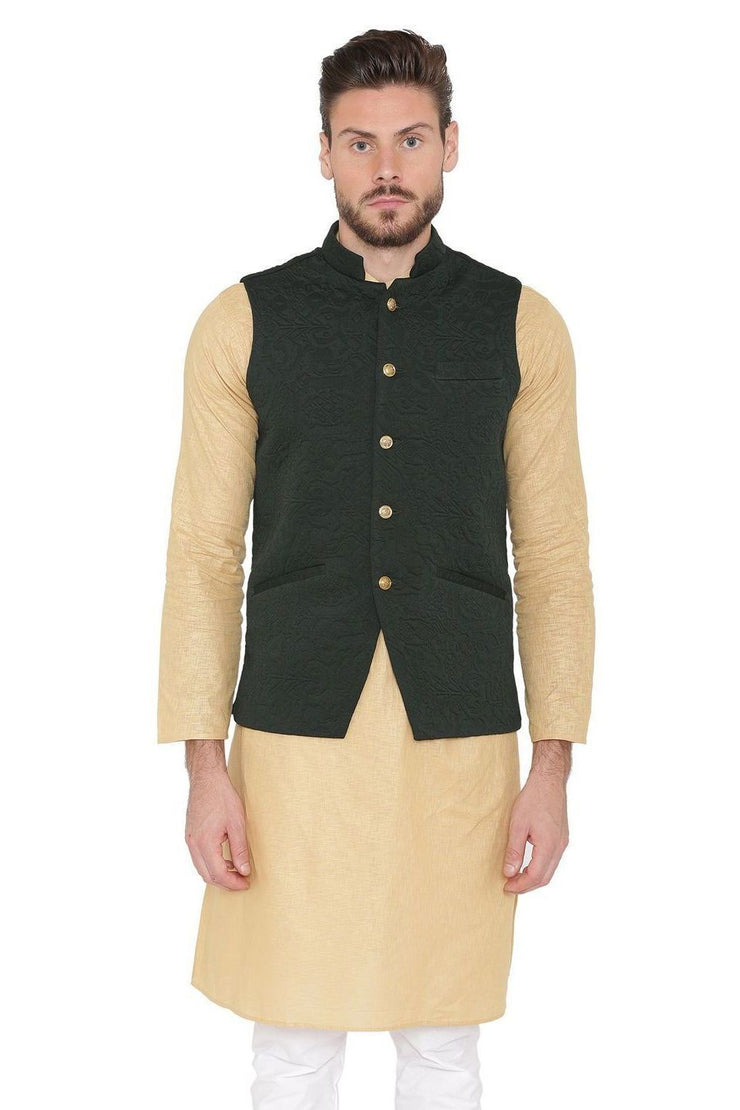 Rayon Embossed Black Nehru Jacket