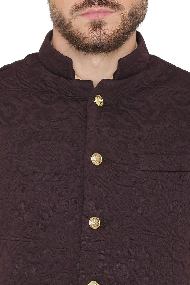 Rayon Embossed Purple Nehru Jacket