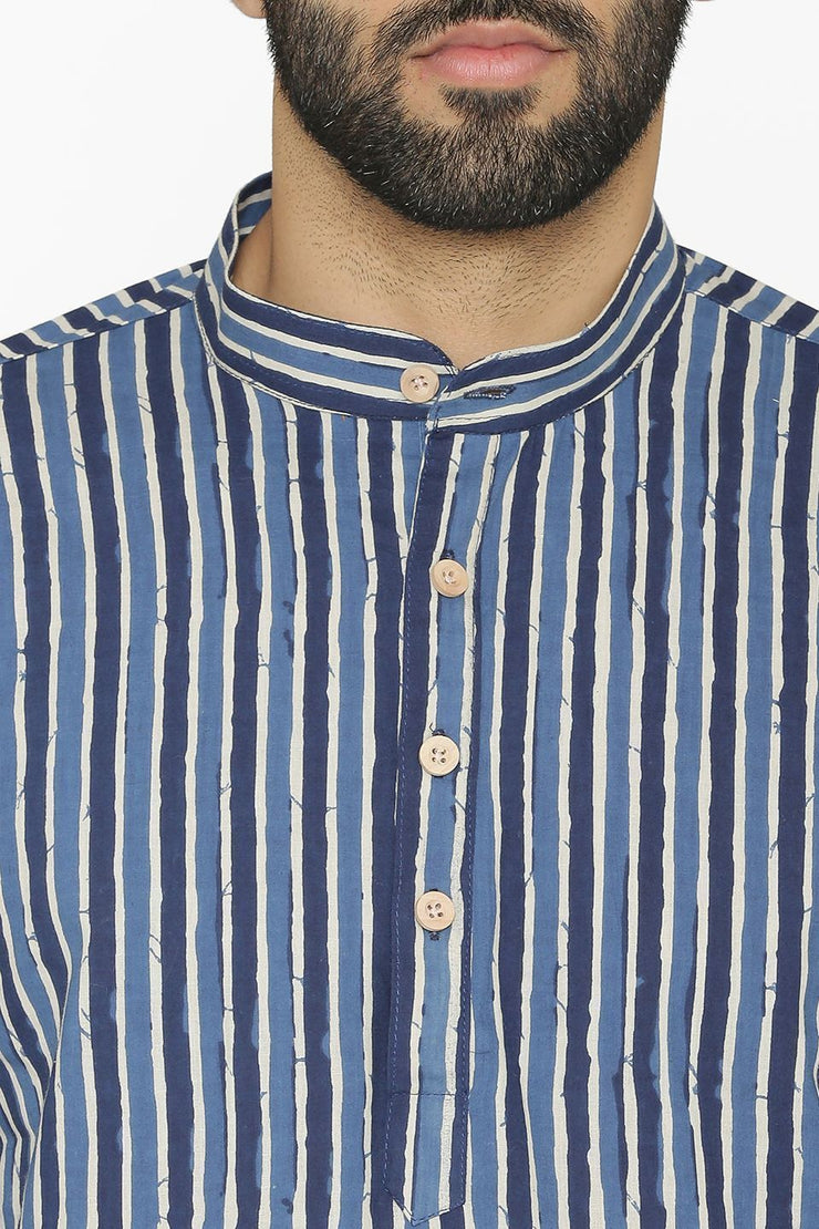 100% Cotton Blue Short Indian Kurta