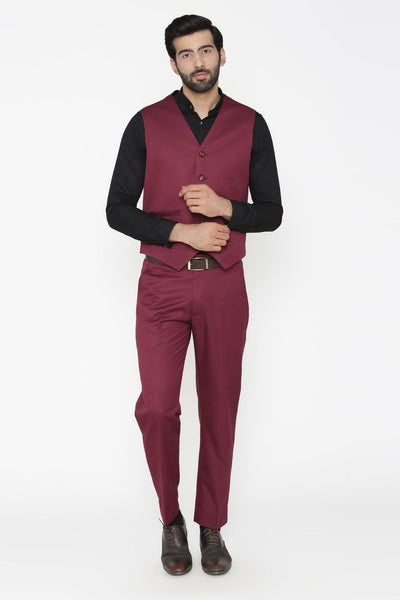 Polyester Cotton Purple Vest and Pant Set