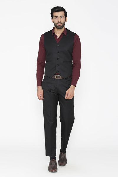 Polyester Cotton Black Vest and Pant Set