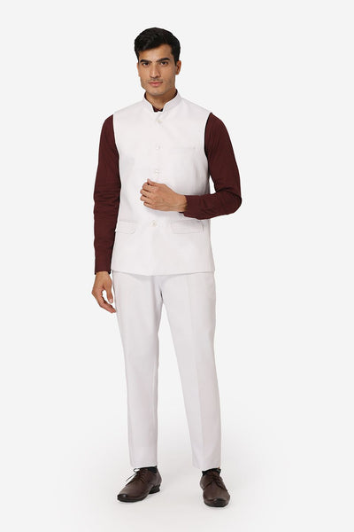WINTAGE Men's Poly Cotton Casual and Evening Vest & Pant Set : White