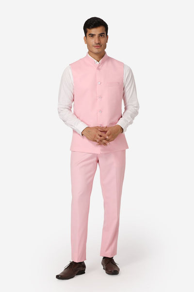 WINTAGE Men's Poly Cotton Casual and Evening Vest & Pant Set : Light Pink