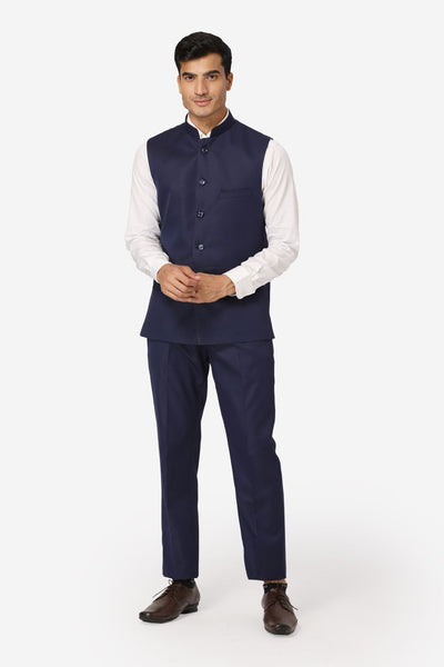 WINTAGE Men's Poly Cotton Casual and Evening Vest & Pant Set : Navy Blue