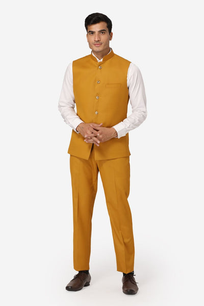 WINTAGE Men's Poly Cotton Casual and Evening Vest & Pant Set : Brown
