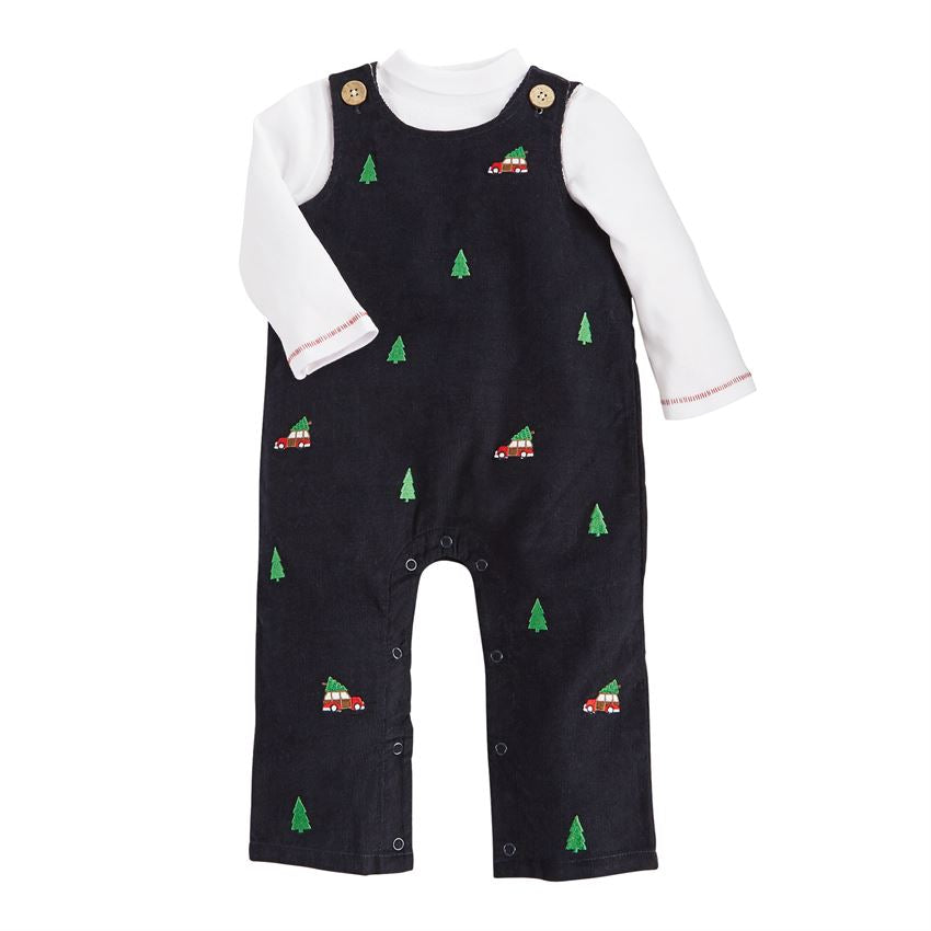 Holiday Navy Overall Set