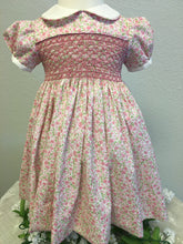 Load image into Gallery viewer, Pink Floral Lawn Smocked Dress