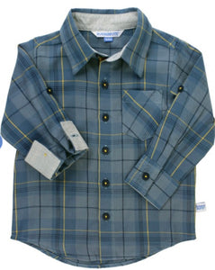 Slate Plaid Button Shirt