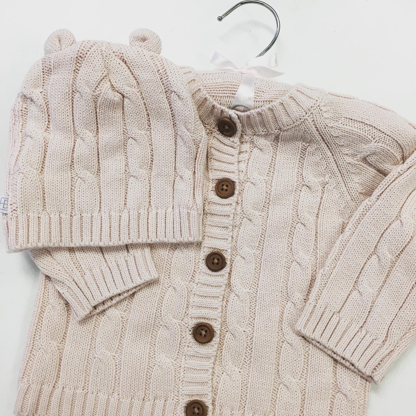 Cotton Cabled Baby Sweater Powder Pink