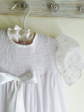 Load image into Gallery viewer, Pearl Smocked Christening Gown