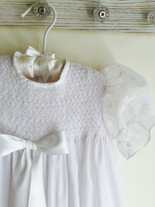Pearl Smocked Christening Gown