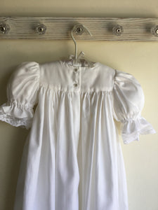 Satin & Lace Smocked Christening Gown