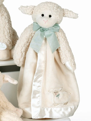 Lamb buddy blanket is cream sherpa wool lamb with a velour satin lined blanket all tied up with a green bow