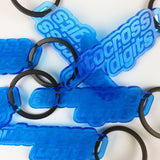 "Blue Acrylic Logo Keychain with 1.25"" Key Ring"